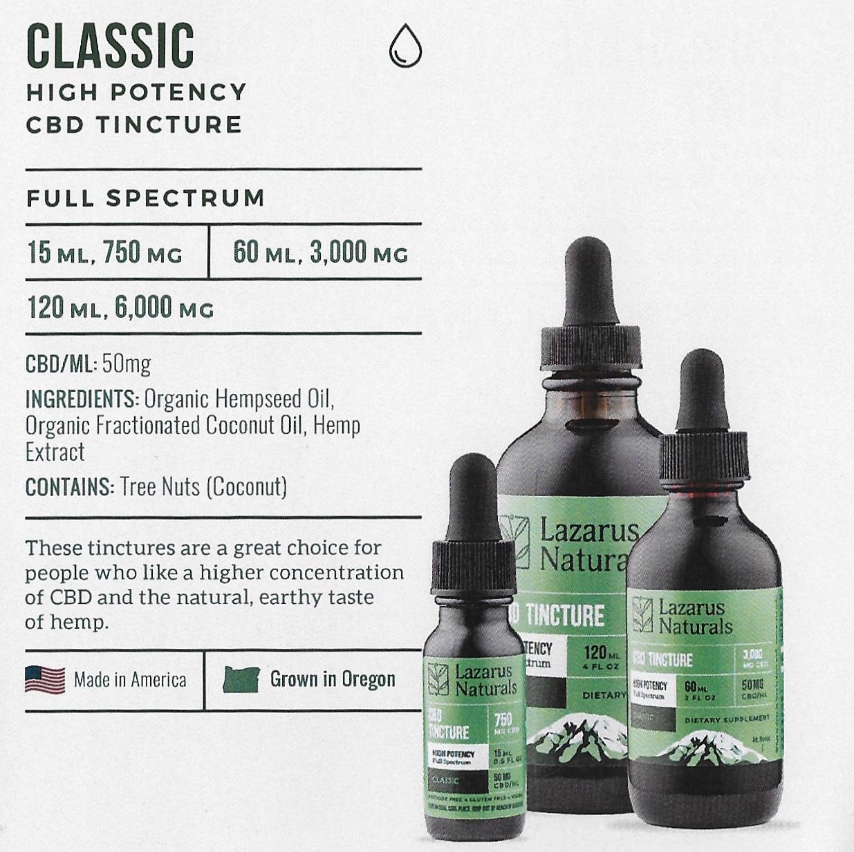 Cbd Oil Tincture Full Spectrum High Potency Lazarus